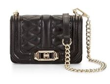 $195 REBECCA MINKOFF QUILTED LEATHER BLACK MINI LOVE CROSSBODY SHOULDER BAG 4