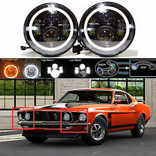 """7"""" LED Headlight DRL Hi Low Beam Lamp with Halo Rings for Ford Mustang 1965-1978"""