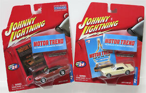 Lot of 2 JOHNNY LIGHTNING MOTOR TREND 1968 DODGE CHARGER 1964 FORD MUSTANG