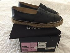 CHANEL 16C Black Leather Espadrilles - Size 38
