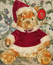 "Disney Store Winnie Pooh plush Exclusive original CHRISTMAS SANTA 12"" New Tags"