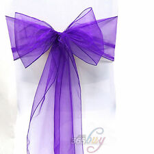 Organza Chair Cover Sash Bow Banquet Wedding Party Reception Chair Decor 100Pcs