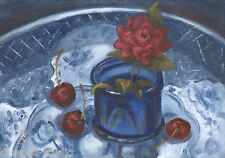 """Sweet, Petite, & Cobalt"" Debra Sepos original oil 5 x 7"" rose cherry still life"