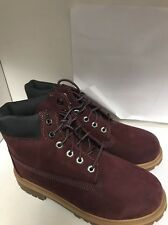 TIMBERLAND YOUTH 6 IN PREMIUM DARK RED BOOT SIZE 3 # A1A1C60 (133)