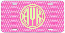 Personalized Monogrammed Chevron Pink Beige License Plate Custom Car Tag L344