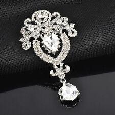 Silver Brooch Flower Large Bridal Rhinestone Crystal Diamante Wedding Broach Pin