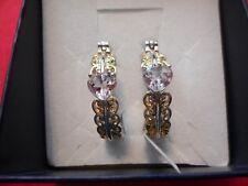 Rose de France Amethyst YG Plated, Stainless Steel Openwork Hoop Earrings3.56CTW