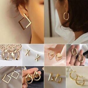925 Silver Geometric Stainless Steel Stud Earrings Ear Hoop Women Party Jewelry