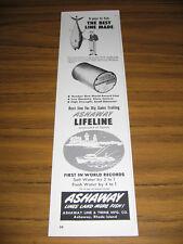 1963 Vintage Ad Ashaway Lifeline Fishing Line 792 Lb Bluefin Tuna