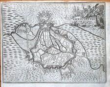 Antique Map 1720 BIRDS EYE VIEW OF VALENCIENNES FRANCE  Francois  Foppen
