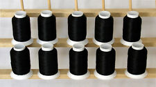 10 CONES POLY MACHINE EMBROIDERY BOBBIN THREAD 60WT 1100yds BLACK THREADELIGHT