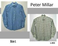 Lot Of 2 Peter Millar Men L Shirt Plaid Long Sleeve Button Up Cotton Button Down
