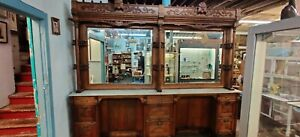 Oak back bar, barbershop, north wind, general store cabinet from New York