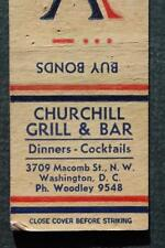 1940s WWII Washington,DC Churchill Grill & Cocktail Bar V for Victory matchbook!