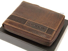 Rowallan Gents Mens Zip Round Veg Tanned Buffalo Leather Wallet - Brown 6738