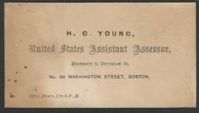 1870s United States Assistant Assessor of Boston Personal Card