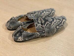 H & M  Grey/Snakeskin-patterned leather slip on loafers UK7/EU40