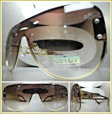 Oversized Retro Designer Shield Style SUNGLASSES Gold Frame Honey & Clear Lens