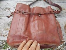 SAC hippie cuir MARRON VINTAGE COLLECTOR INDIENNE ARTISANAT PATINE SUPERBE 12€ A