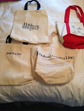 LOT OF 4 Cotton CANVAS SHOPPING BAGS/TOTES ( HOLLAND AMERICA/COSTCO/PNC BANK/HAL