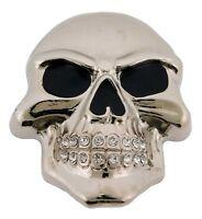 Skeleton Belt Buckle Skull Rhinestone Silver Metal Gothic Tattoo Tribal Mens New