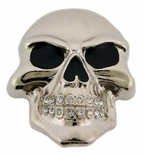 Skull Belt Buckle Silver Metal Gothic Tattoo Fashion Pirate Halloween Costume