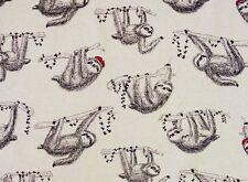 Fat Quarter Sloths Cotton Linen Mix Quilting Fabric Japanese