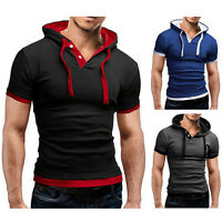 Men's Slim-Fit-Short-Sleeve Shirts Hooded Tee Muscle Tops Hoodies Casual/T/shirt