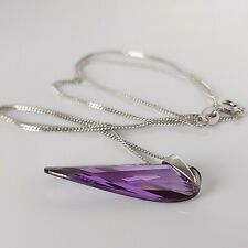 Beautiful Sterling Silver & Amethyst Crystal Dangle Drop Pendant Necklace 18""
