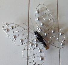 Tisch Deko Schmetterling Glitzer und Perlen mit Clip-Befestigung 12 cm neu