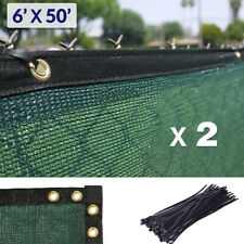 6' x 50' Fence Wind Privacy Screen Mesh Cover Tarp Green (Set of 2 - 100' long)