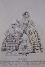 GRAVURE COULEURS LA MODE 1840-OLD FASHION PRINT XIXe SIECLE COSTUME MD62