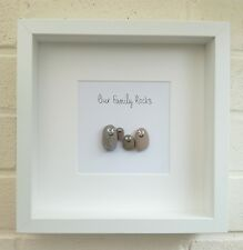 Pebble picture part frame Our Family Rocks birthday gift handmade Mother's Day