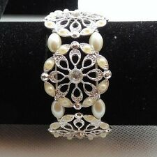 """Pretty White Faux Pearl and Crystal Opend Metal Bracelet Silver Tone 1.25"""" Wide"""