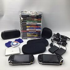 Lot of 2 Sony PSP Handheld Systems w/16 games & 4 memory cards - Working/Tested