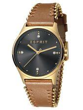 Esprit Drops 01 Grey L.Brown Uhr Damenuhr Lederarmband Braun ES1L032L0035