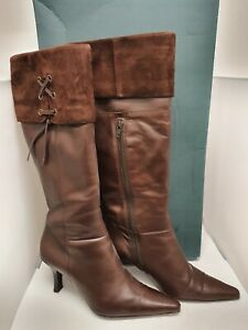 """Ladies Clarks Brown Leather """"Magpie"""" Knee Hight High Heeled Boots UK Size 7"""