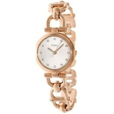Fossil Women ES3350 Round White Dial Stainless Rosegold Band Dress Watch