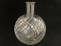 "Baccarat France Cyclades Crystal Bulbous Vase Cut Lines 7.5"" H"