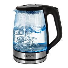 BLACK PORTABLE ELECTRIC GLASS KETTLE BLUE LED ILLUMINATED 2L 360° CORDLESS 2200W