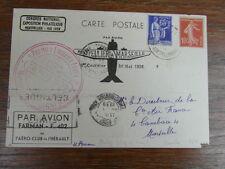 FDC CARTE AEROPOSTALE 1er COURRIER AERIEN MONTPELLIER-MARSEILLE 30/05/1939