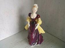 "Royal Doulton Loretta Woman Figurine 8"" England Yellow Shawl Purple Dress"