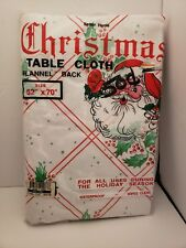 """Vtg Christmas Tablecloth 52""""x70"""" Waterproof/flannel back - holly & red stripes"""
