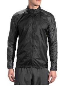 Brooks Mens LSD Jacket - Packable -Water/Wind Resistant Black Asphalt Sizes $98