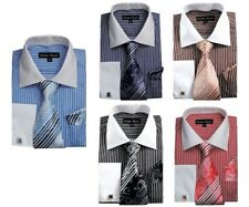 Men's Striped Formal Dress Shirt w/ French Cuff Links,Tie and Hanky #631