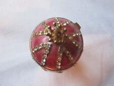 Pink Faberge Egg.SPIRAL/goldtone,pedestal,gilded,crystal,Russian/3.75insH