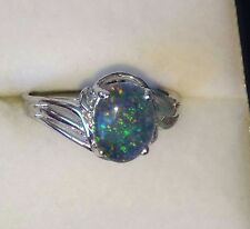 Natural Australian Triplet  Opal Ring Sterling Silver with 9K Gold size P