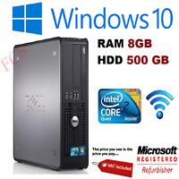 JOBLOT 10 X DELL QUAD CORE PC WINDOWS 10 WIFI 8GB RAM 500GB HDD W10 PROFESSIONAL