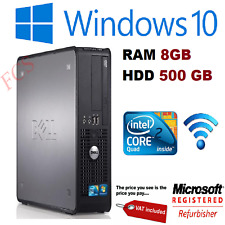 FAST DELL QUAD CORE PC COMPUTER DESKTOP TOWER WINDOWS 10 WIFI 8GB RAM 500GB HDD