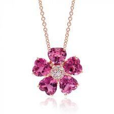 Natural Pink Tourmalines 6.15 carats set in 14K Rose Gold Necklace